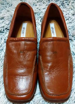 Туфли из натуральной кожи рыжие италия