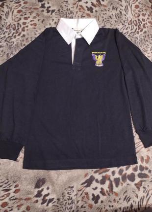 Рубашка поло футболка длинный рукав реглан чёрный мужской подростковый новая, сток
