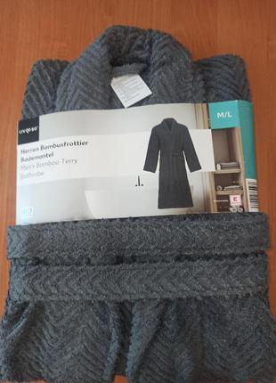 Натуральный фактурный длинный мягкий махровый мужской халат liv&bo германия  xl-xxl(56-60)