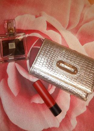 Кожаный серебряный кошелек versace