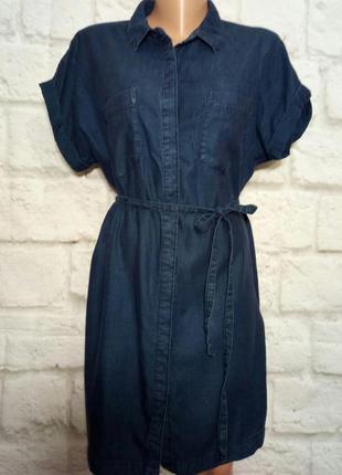 Платье -рубаха миди коттоновое р 14 -16 отf-f