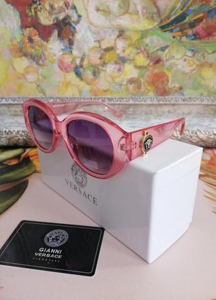 Эксклюзивные брендовые солнцезащитные розовые женские очки с фирменной коробкой