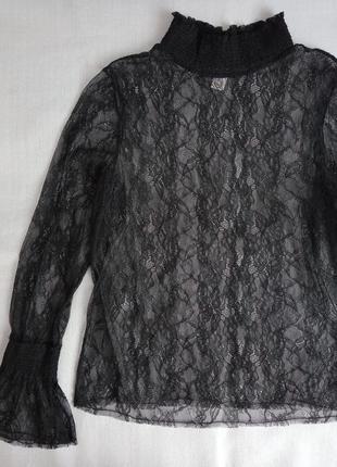 Черная кружевная кофточка блуза сетка