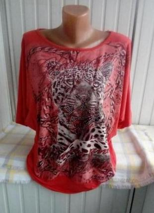 Вискозная трикотажная  блуза футболка большого размера батал,оверсайз