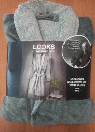 Шикарный подарок махровый велюровый мужской халат looks by wolfgang joop  германия в упаковке m-l(48-52)