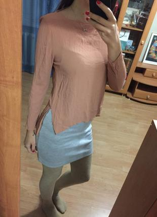 Стильная блуза нюдового цвета zara