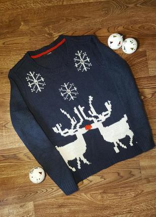 Теплый синий свитер с оленями и снежинками george