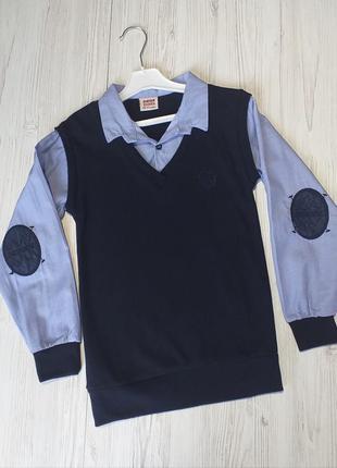 Модная обманка-жилетка с голубой рубашкой на мальчиков и подростков, 7-15 лет