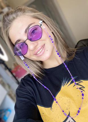 Модные фиолетовые очки ромбы