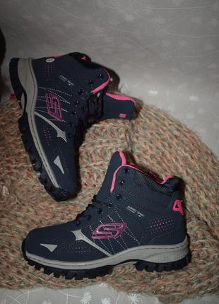 Зимние кроссовки, ботинки с искусственным мехом синие с розовым
