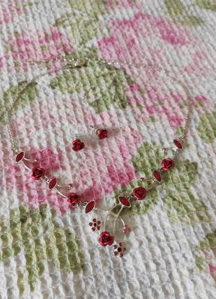 Avon колье з троянадами сережки/ намисто з сережками/ колье с серьгами розы розочки