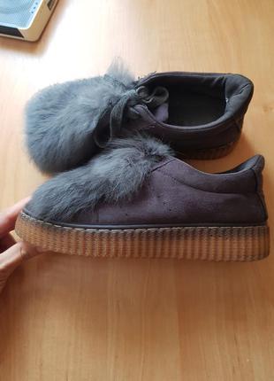 Криперы/кеды на шнуровке с мехом/37 размер