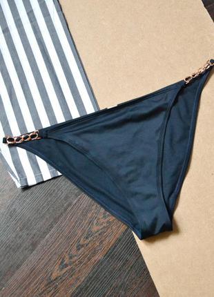 Тёмно-синие плавки с цепями сбоку hoplun