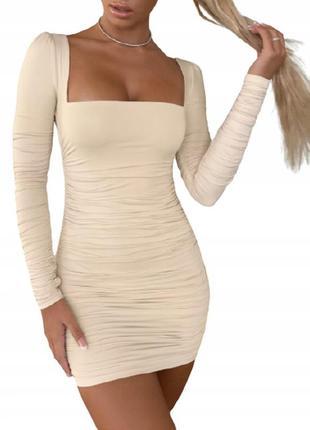 Платье драппировка,  квадратный вырез, пышные рукава