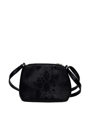 Вместительная маленькая трендовая черная с змеиным принтом стильная сумка для девушки кросс боди
