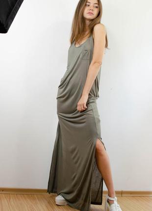 H&m новое длинное макси хаки платье в пол с разрезами, майка платье комбинация, сукня