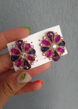 Серьги сережки ейвон эйвон avon цветок камни