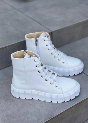 Код 6759-1 белые кожаные ботинки на рифленой подошве