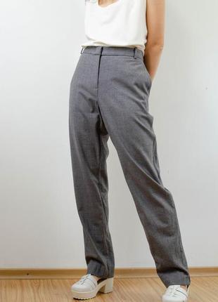 Jigsaw классические шерстяные мягкие серые брюки на высокой посадке, талии, штаны из шерсти