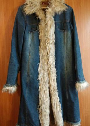 Пальто джинсовое утепленное 38-40р