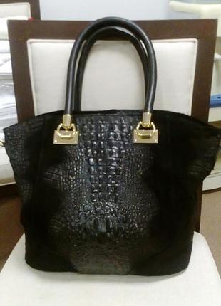Брендовая стильная итальянская кожаная сумка genuine leater-оригинал