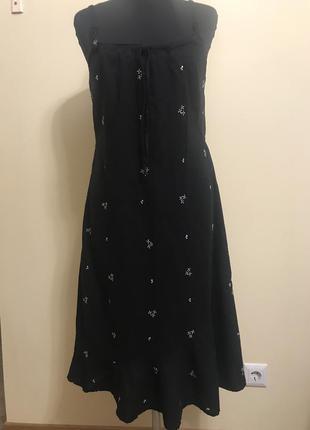 Платье лянное с вышивкой италия