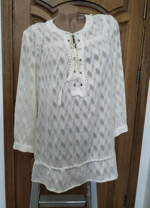 Белая блуза крестьянка со шнуровкой next