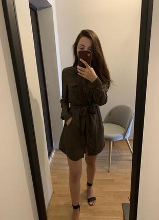 Стильное хаки платье рубашка