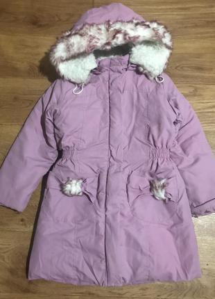 Зимняя куртка пальто на девочку 116 см