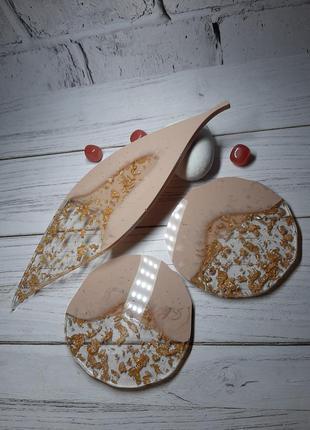 Элегантный ювелирный кремовый набор нюд для сервировки стола подарок