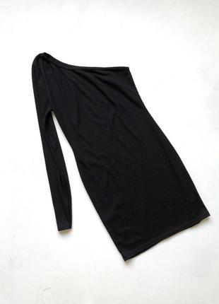 Стильное чёрное приталенное платье в рубчик boohoo размер 8 s