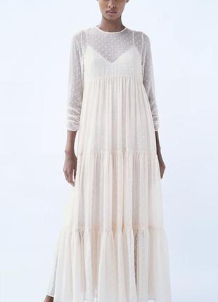 Молочное платье zara