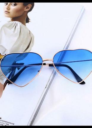 Голубые синие очки сердечки в виде сердца