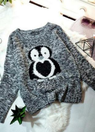 Мягкий милый свитерок с пингвином