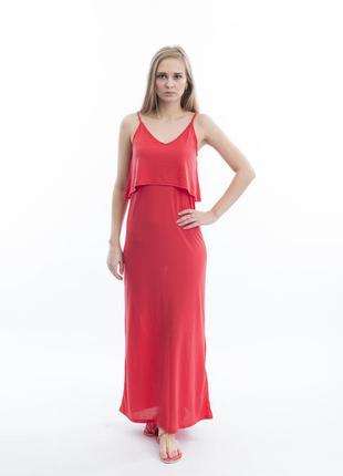 Длинное корраловое платье h&m