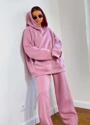 Розовый костюм оверсайз с начёсом объёмный худи и широкие штаны