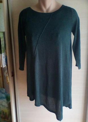 Классная платье - туника темно зеленого цвета