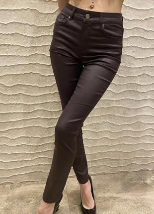 Новые штаны джинсы massimo dutti s xs оригинал под кожу коричневые