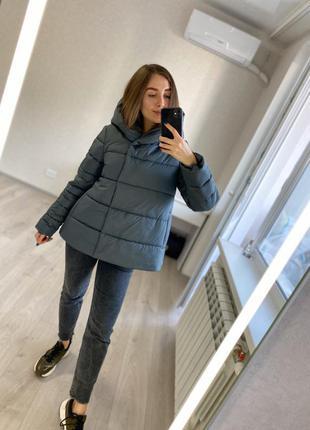 Хаки - свободная демисезонная осенняя куртка колокольчик - трапеция (и для беременных)