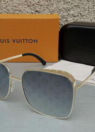Louis vuitton очки женские солнцезащитные большие в золотом металле зеркальные с лого бренда
