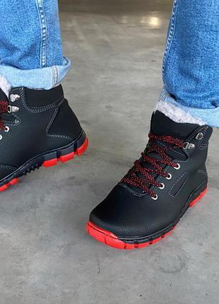 Ботинки зимние мужские на красной подошве (а-20-к)