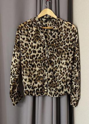 Guess блуза шифон, принт леопард