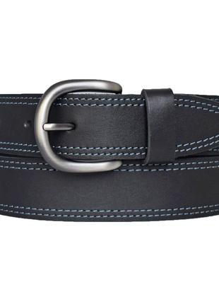 Кожаный ремень женский черный с голубой строчкой для джинсов marso