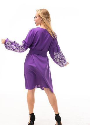 Вишита сукня, сукня з вишивкою , вишиванка , фиолетовое платье , льняное платье