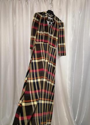 Шикарное платье в пол  клетка