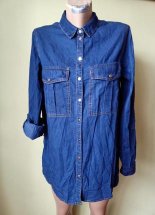 Джинсовая рубашка туника, сорочка