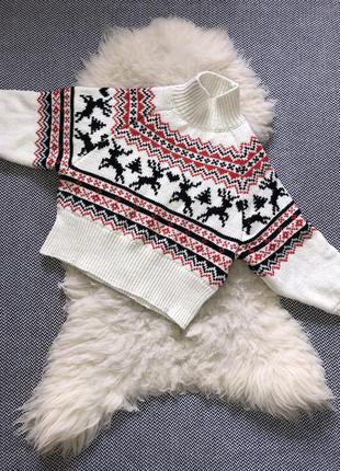 Свитер кофта новогодний мотив шерсть рождественская олени вышивка