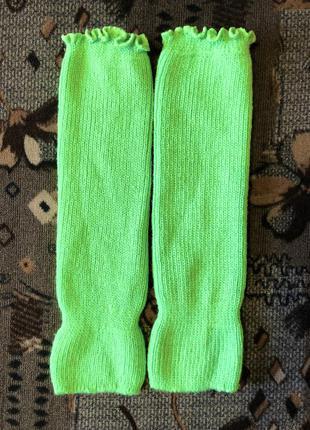 Гетры яркие салатовые зелёные бесшовные с манжетами