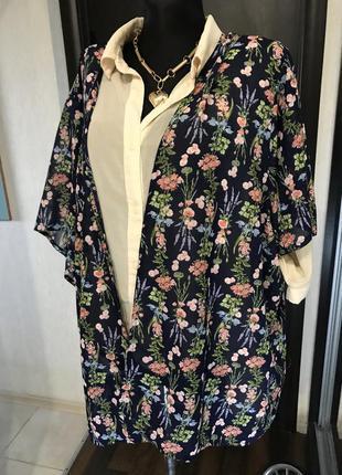 Кимоно style накидка цветочная большой размер без застежки халатик