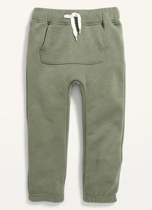 Оливкові трикотажні штани (джогери) на флісовому начосі олд неві для хлопчика